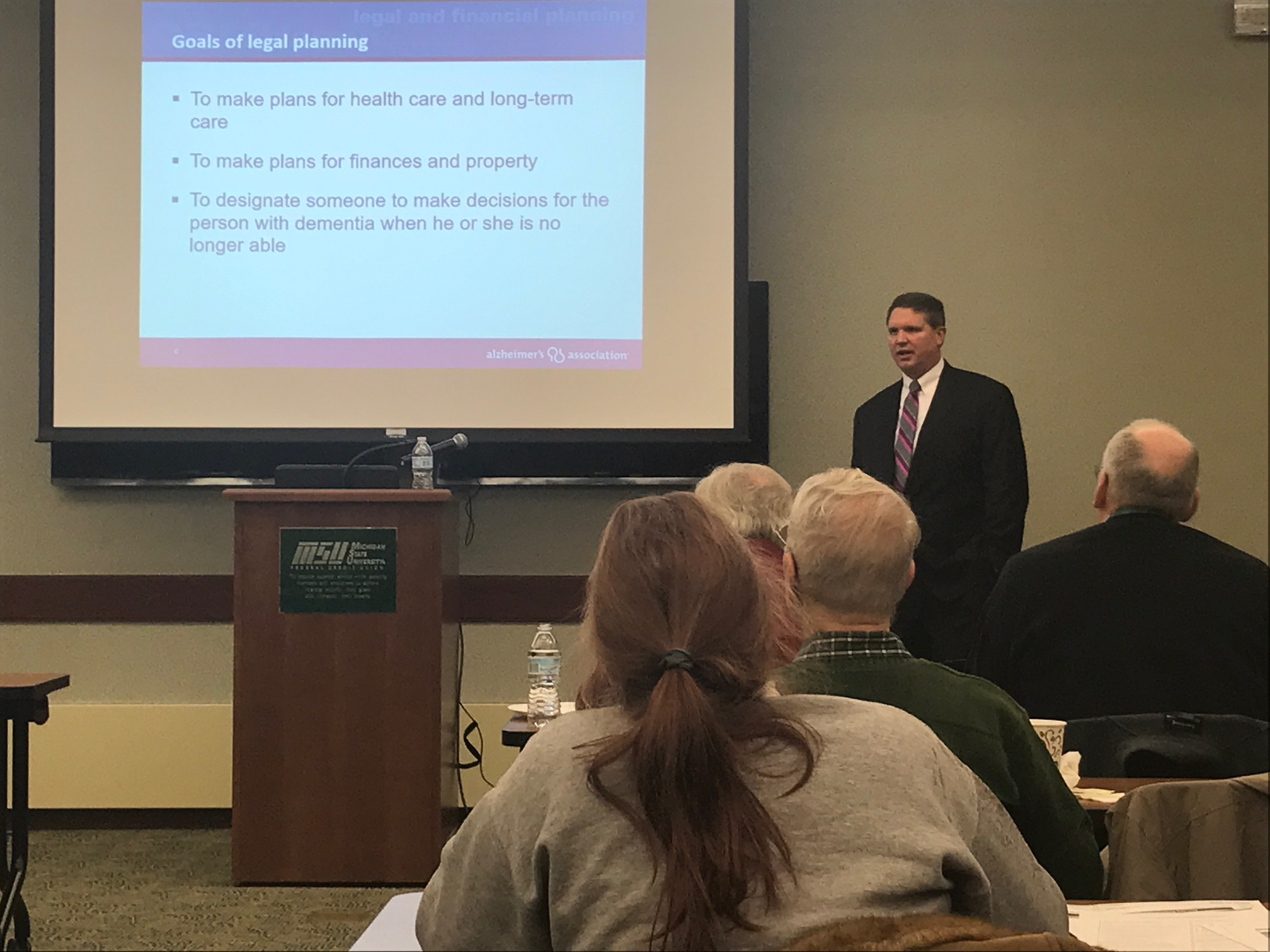 Attorney Mark E. Kellogg presenting on legal and financial planning for Alzheimer's Disease at MSU Federal Credit Union